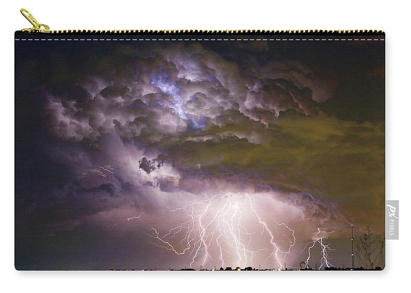 Colorado Lightning Carry-all Pouch featuring the photograph Highway 52 Storm Cell - Two And Half Minutes Lightning Strikes by James BO Insogna