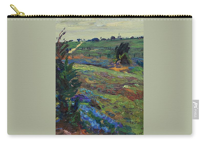 Blue Bonnets Carry-all Pouch featuring the painting Hills Of Joy by Maris Salmins