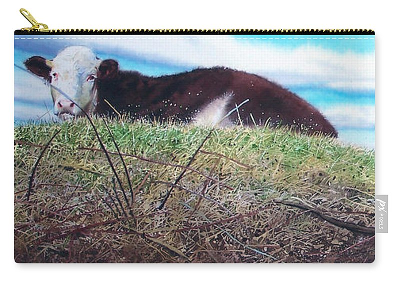 Steers Carry-all Pouch featuring the painting Hillside Retreat by Denny Bond