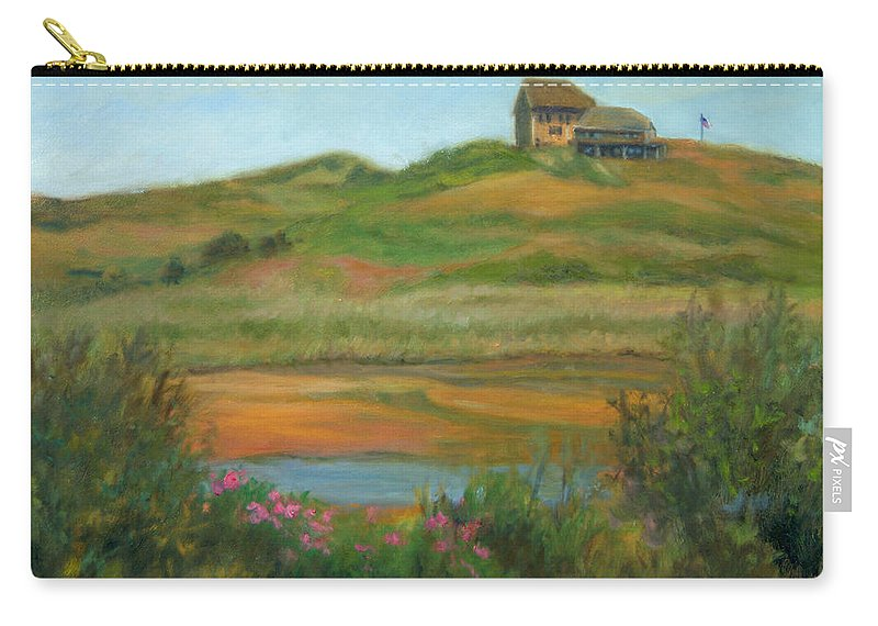 Landscape Carry-all Pouch featuring the painting Hilltop Houses Cape Cod by Phyllis Tarlow