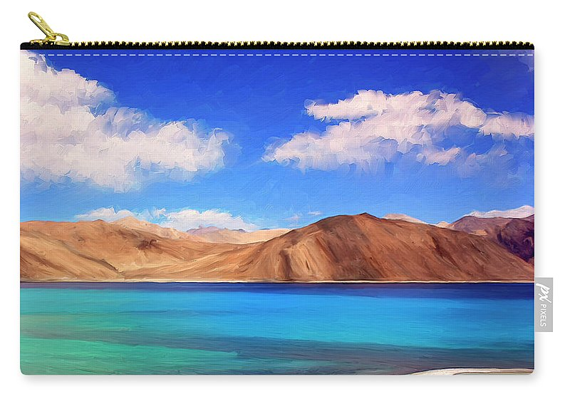 Himalayan Lake Carry-all Pouch featuring the painting Himalayan Lake by Dominic Piperata