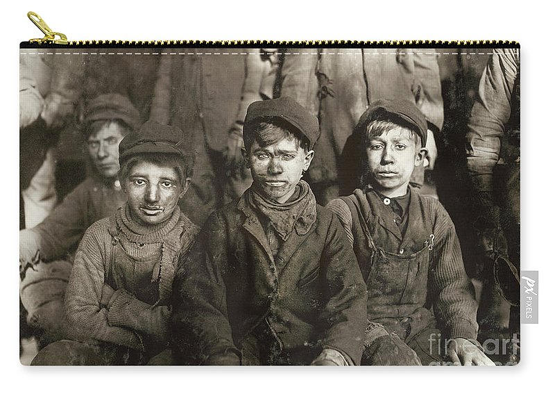 1911 Carry-all Pouch featuring the photograph Hine: Breaker Boys, 1911 by Granger