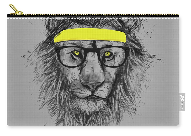 Lion Carry-all Pouch featuring the drawing Hipster lion by Balazs Solti