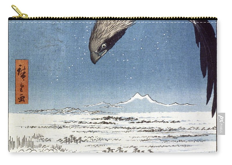 100 Famous Views Of Edo Carry-all Pouch featuring the photograph Hiroshige: Edo/eagle, 1857 by Granger