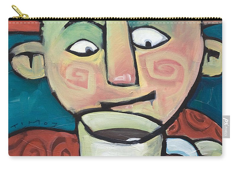 Smile Carry-all Pouch featuring the painting His Coffee Spoke To Him by Tim Nyberg