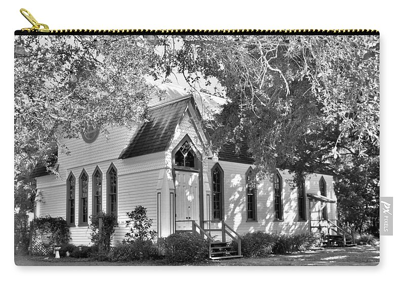 Historic Andrews Memorial Chape Dunedin Florida Black And Whitel Carry-all Pouch featuring the photograph Historic Andrews Memorial Chapel Dunedin Florida Black And White by Lisa Wooten