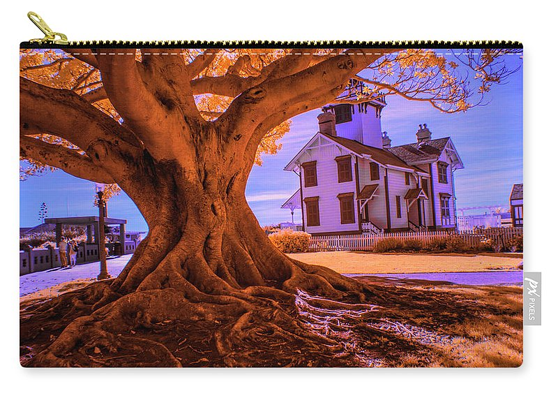 Art Carry-all Pouch featuring the photograph Historic Fermin Point Lighthouse In Infrared by Randall Nyhof