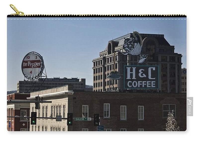 Roanoke Carry-all Pouch featuring the photograph Historic Landmark Signs Roanoke Virginia by Teresa Mucha