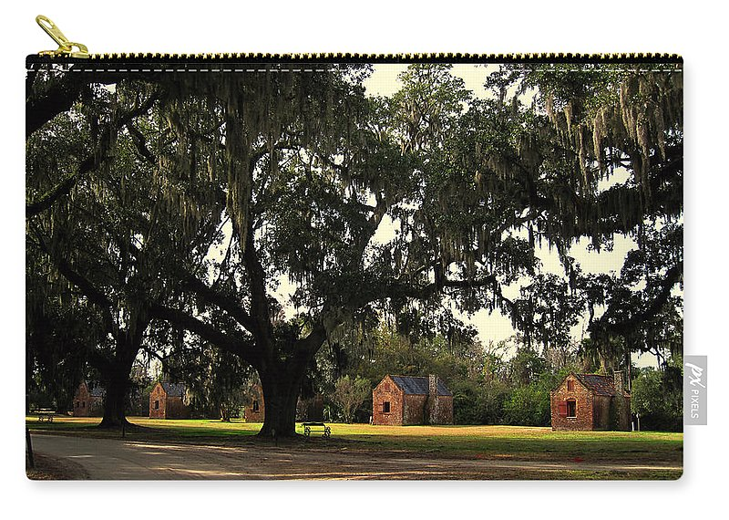 American History Carry-all Pouch featuring the photograph Historic Slave Houses At Boone Hall Plantation In Sc by Susanne Van Hulst