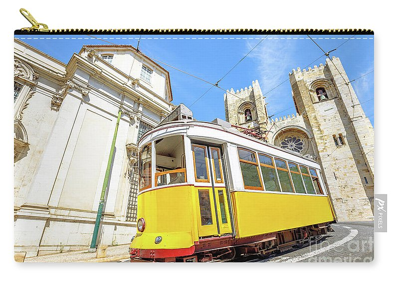 Lisbon Carry-all Pouch featuring the photograph Historic Tram And Lisbon Cathedral by Benny Marty