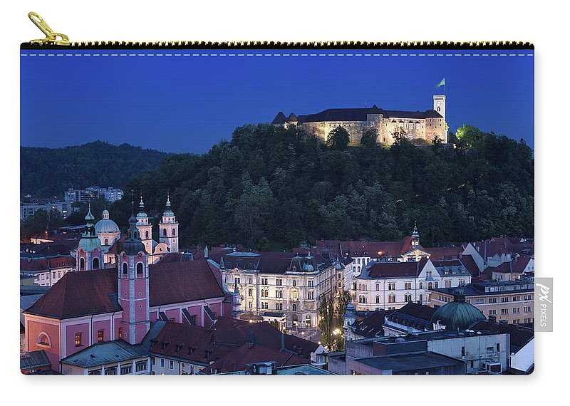 Old Town Carry-all Pouch featuring the photograph Hlltop Ljubljana Castle Overlooking The Old Town Of Ljubljana Ca by Reimar Gaertner