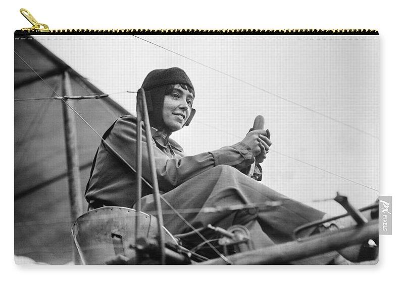 1911 Carry-all Pouch featuring the photograph H�l�ne Dutrieu (1877-1961) by Granger