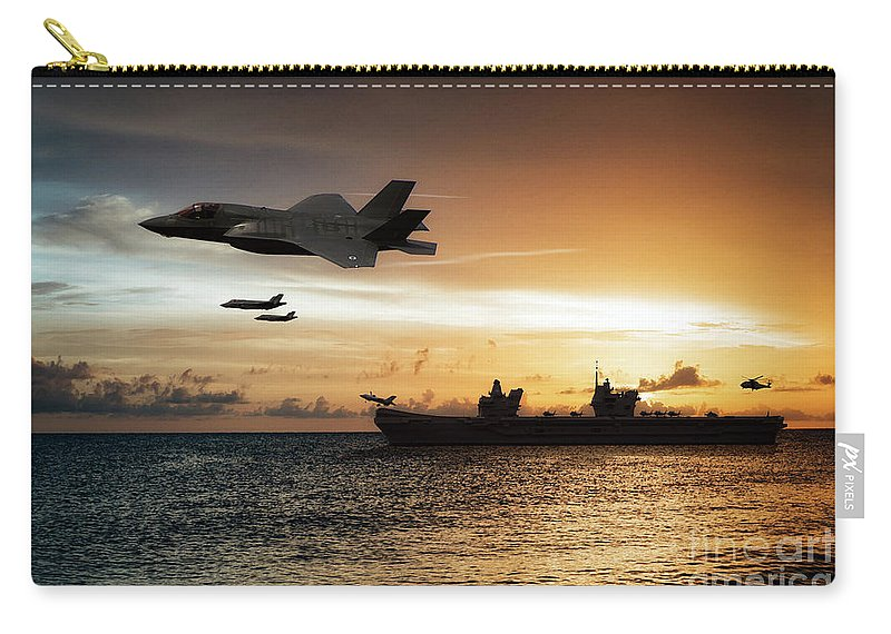 Hms Queen Elizabeth Carry-all Pouch featuring the digital art Hms Queen Elizabeth by Airpower Art