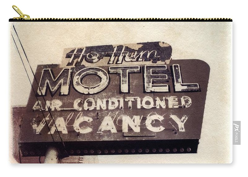 Motel Carry-all Pouch featuring the photograph Ho Hum Motel Polaroid transfer by Jane Linders