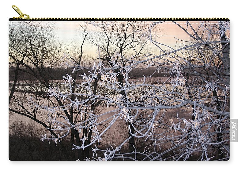 Hoar Frost Trees Lake Water Autumn Winter Ice White Cold Carry-all Pouch featuring the photograph Hoar Frost by Andrea Lawrence