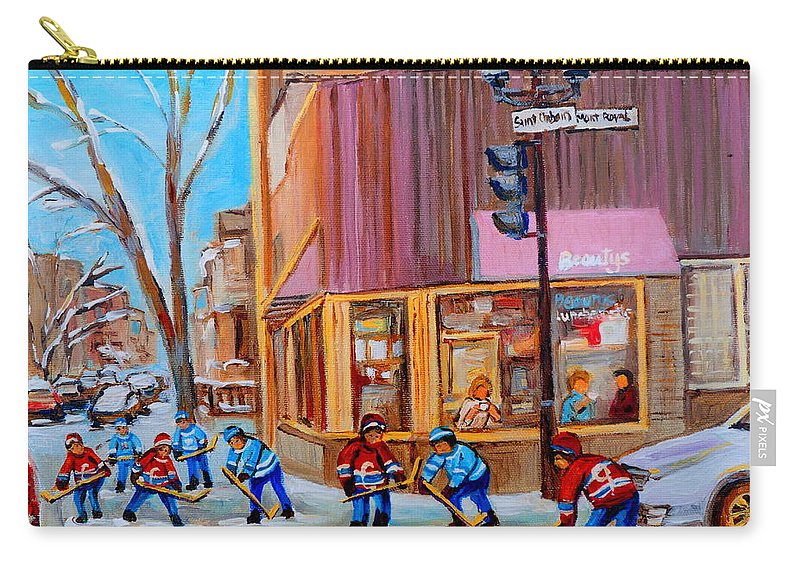 Beautys Luncheonette. Carry-all Pouch featuring the painting Hockey At Beautys Deli by Carole Spandau