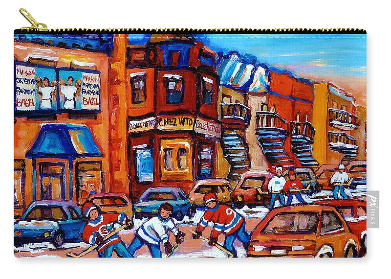 Fairmount Bagel Carry-all Pouch featuring the painting Hockey At Fairmount Bagel by Carole Spandau