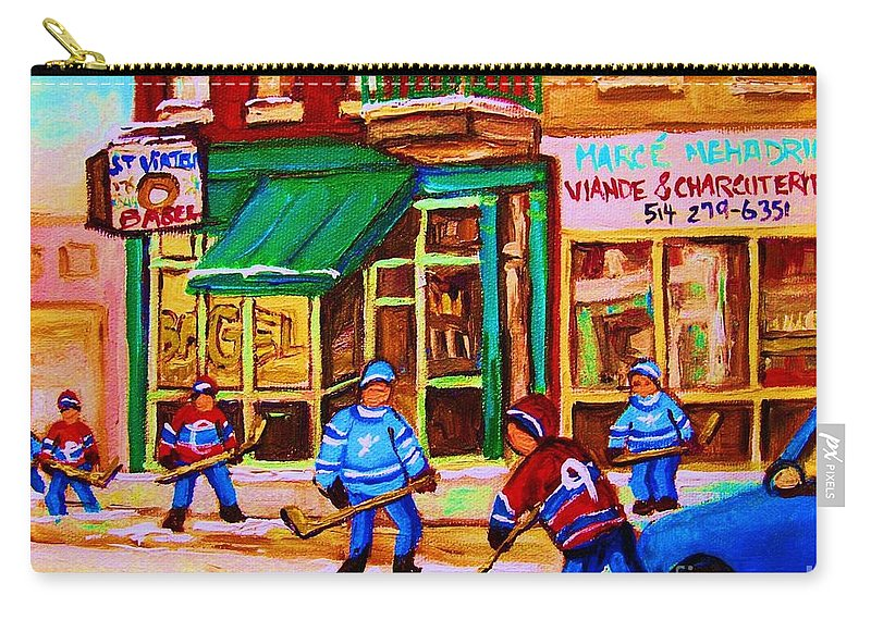 Hockey Art Carry-all Pouch featuring the painting Hockey At Mehadrins by Carole Spandau