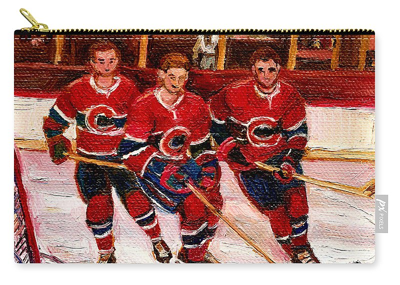 Hockey Art Carry-all Pouch featuring the painting Hockey At The Forum by Carole Spandau