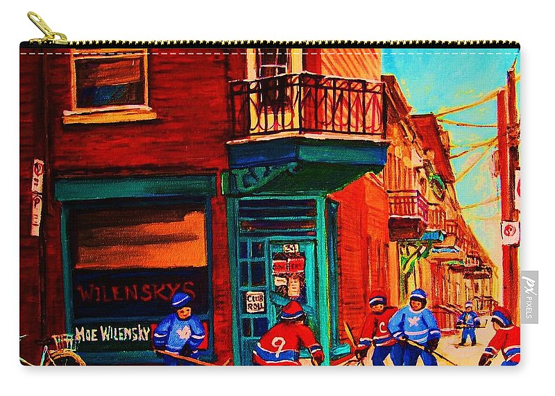 Wilenskys Carry-all Pouch featuring the painting Hockey At Wilenskys Corner by Carole Spandau
