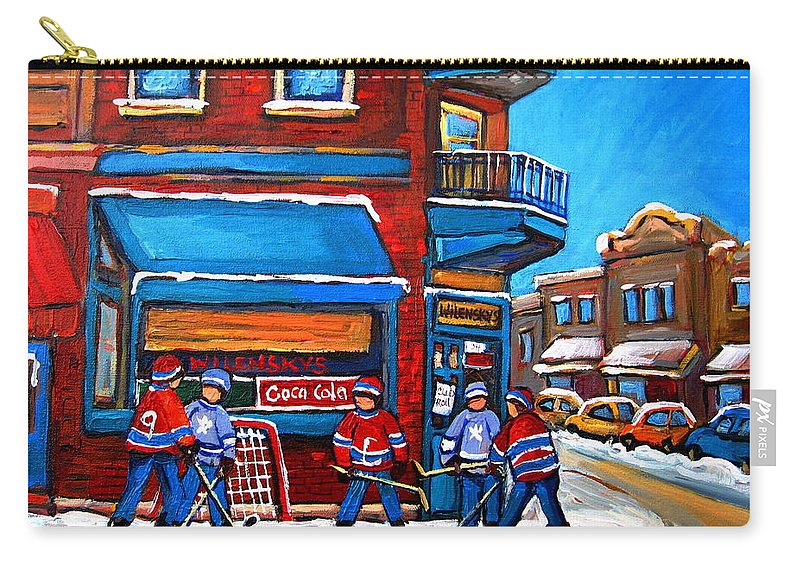 Hockey Game At Wilensky's Carry-all Pouch featuring the painting Hockey Game At Wilensky's by Carole Spandau