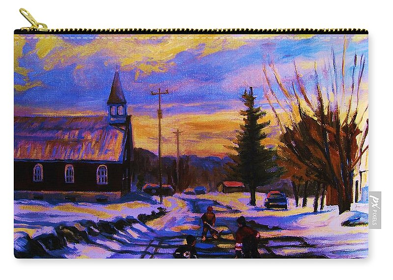 Montreal Carry-all Pouch featuring the painting Hockey Game In The Village by Carole Spandau