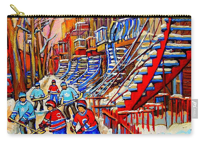 Montreal City Carry-all Pouch featuring the painting Hockey Game Near The Red Staircase by Carole Spandau