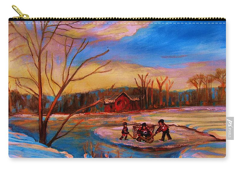 Pond Hockey Carry-all Pouch featuring the painting Hockey Game On Frozen Pond by Carole Spandau