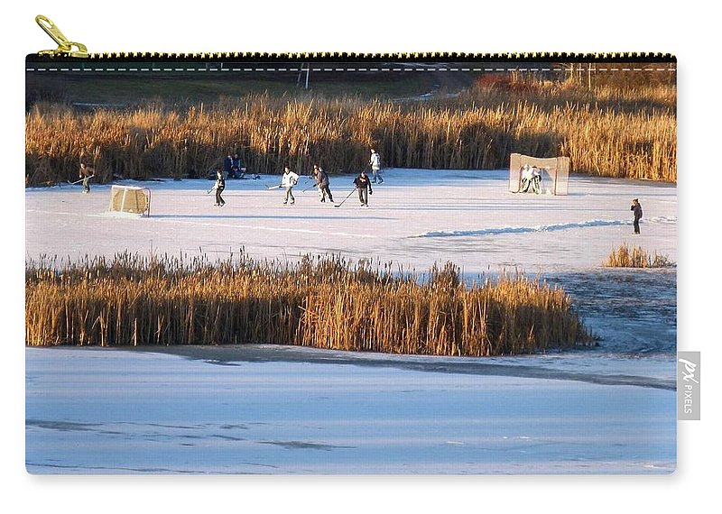 Hockey Carry-all Pouch featuring the photograph Hockey Game by Will Borden