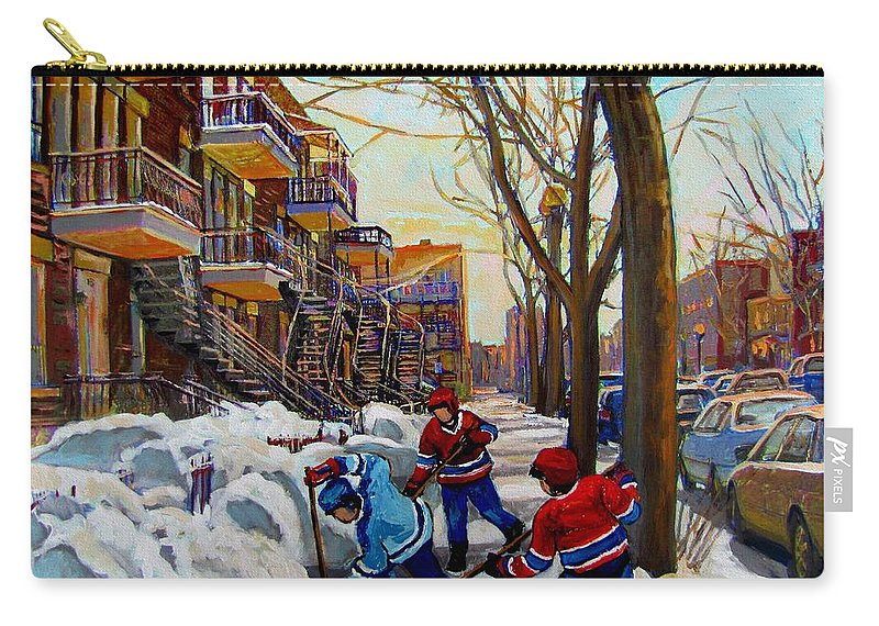 Hockey Canvas Prints Carry-all Pouch featuring the painting Hockey On De Bullion by Carole Spandau