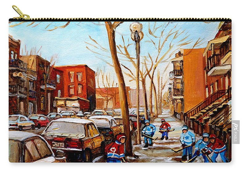Hockey Carry-all Pouch featuring the painting Hockey On St Urbain Street by Carole Spandau
