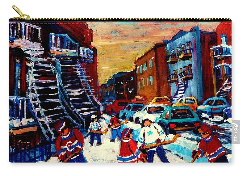 Montreal Carry-all Pouch featuring the painting Hockey Paintings Of Montreal St Urbain Street City Scenes by Carole Spandau