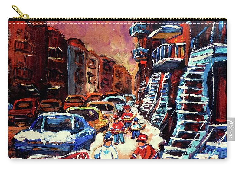 Montreal Carry-all Pouch featuring the painting Hockey Paintings Of Montreal St Urbain Street Winterscene by Carole Spandau