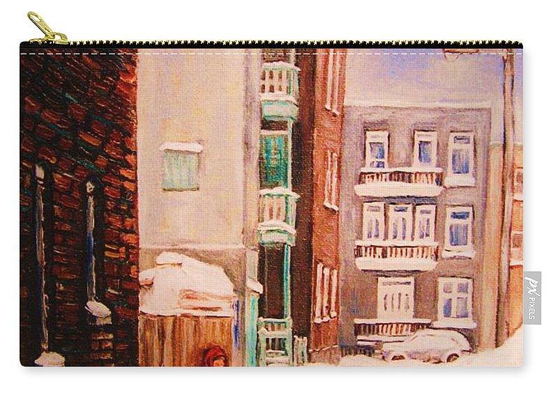 Hockey Carry-all Pouch featuring the painting Hockey Practice by Carole Spandau