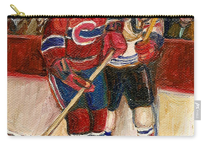 Hockey Carry-all Pouch featuring the painting Hockey Stars At The Forum by Carole Spandau
