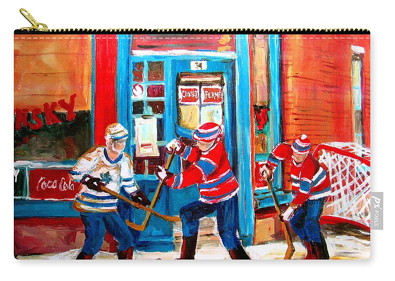 Wilenskys Carry-all Pouch featuring the painting Hockey Sticks In Action by Carole Spandau