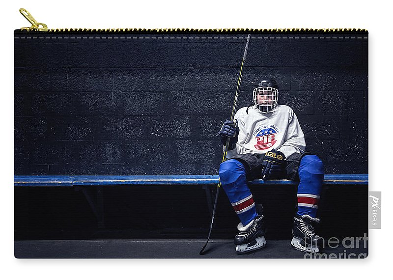 Kremsdorf Carry-all Pouch featuring the photograph Hockey Strong by Evelina Kremsdorf