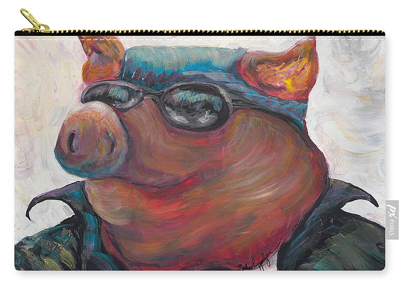 Hog Carry-all Pouch featuring the painting Hogley Davidson by Nadine Rippelmeyer