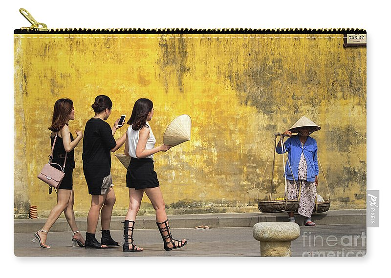 Vietnam Carry-all Pouch featuring the photograph Hoi An Tan Ky Wall Hawker 13 by Rick Piper Photography