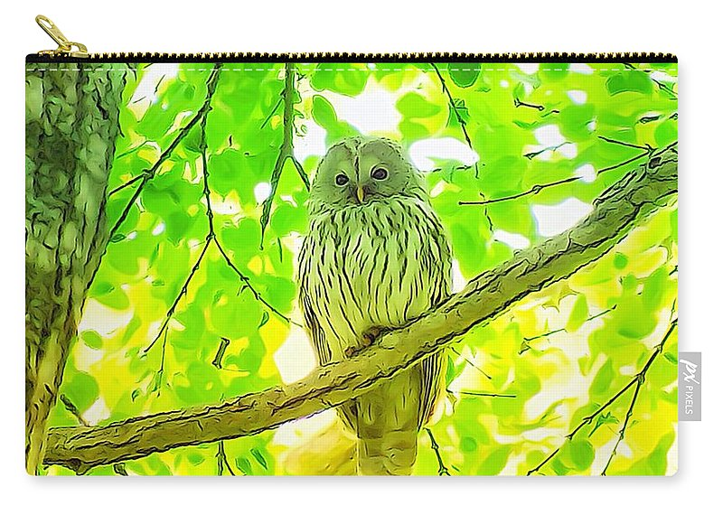 フクロウ目 Carry-all Pouch featuring the photograph Owl Watercolor Touch by Yutaka Mori