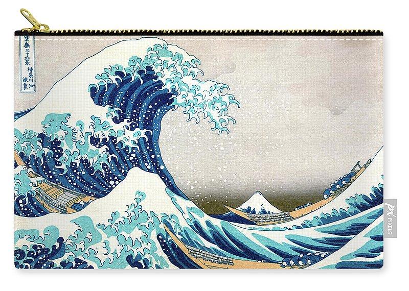 Japanese Carry-all Pouch featuring the painting Hokusai Great Wave off Kanagawa by Katsushika Hokusai
