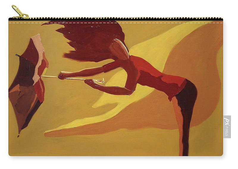 Woman Carry-all Pouch featuring the painting Hold On by Barbara Andolsek