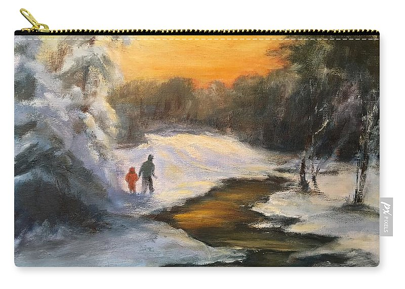 Snow Carry-all Pouch featuring the painting Holding My Father's Hand by Gail Kirtz