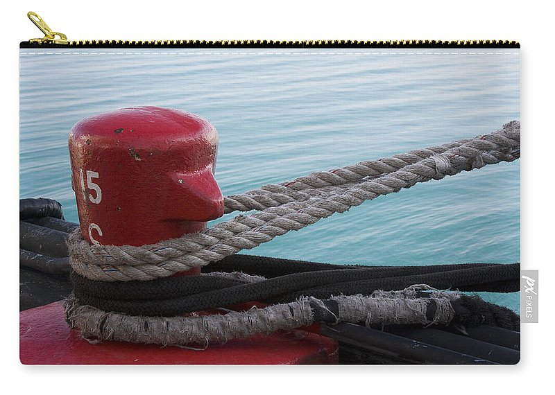 Chicago Windy City Navy Pier Lake Michigan Water Red Blue Wave Rope Ship Boat Carry-all Pouch featuring the photograph Holding Tight by Andrei Shliakhau