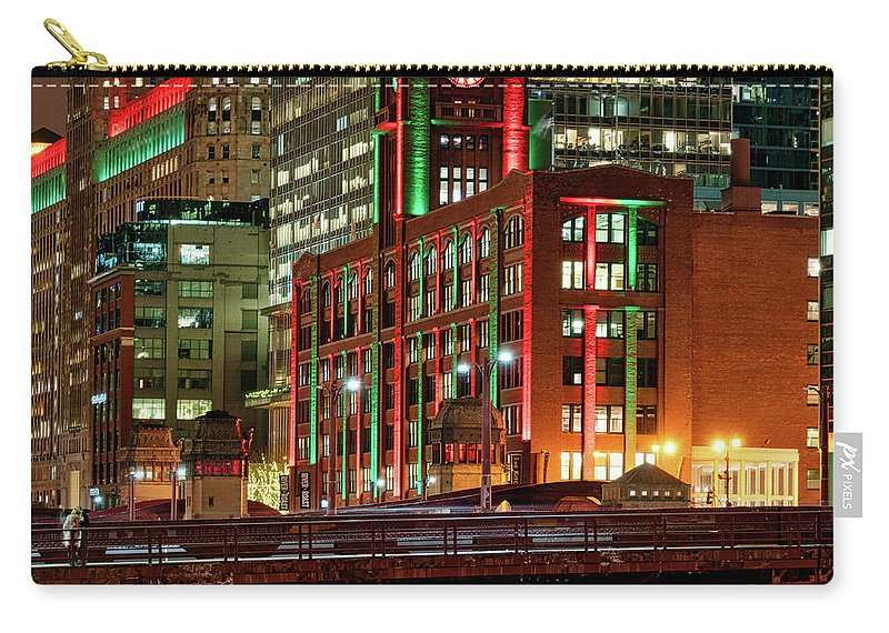 Chicago Carry-all Pouch featuring the photograph Holiday Colors Along Chicago River by Izet Kapetanovic