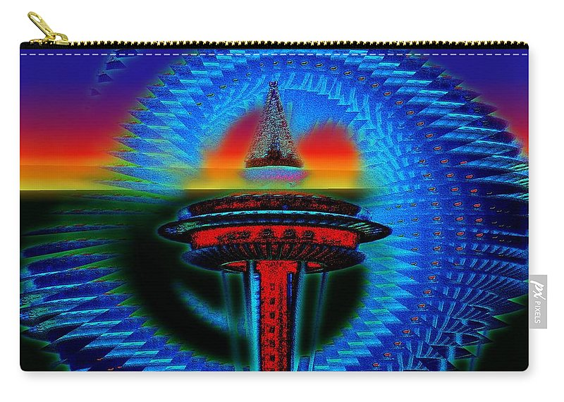 Seattle Carry-all Pouch featuring the digital art Holiday Needle Illusion by Tim Allen