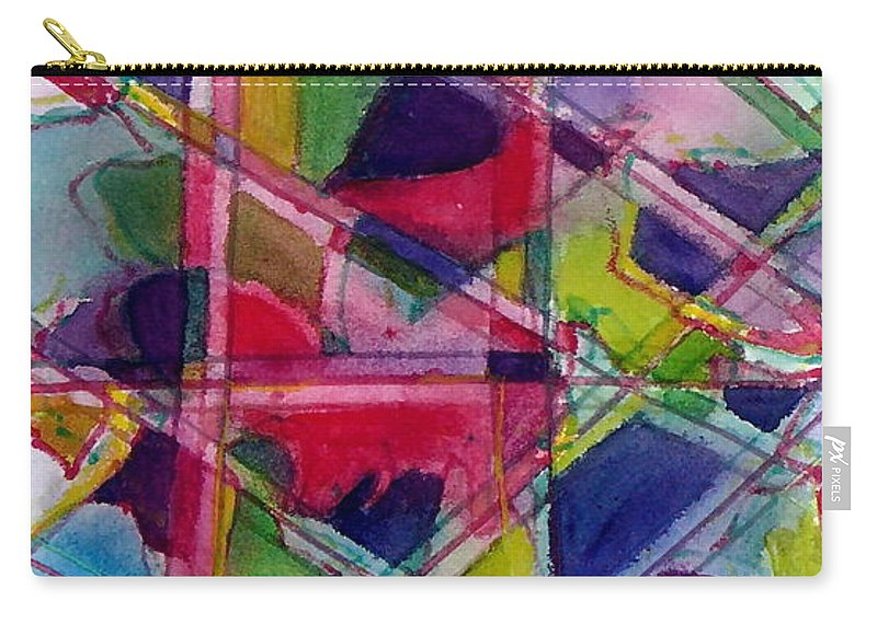 Abstract Carry-all Pouch featuring the painting Holiday Rush by Jan Bennicoff