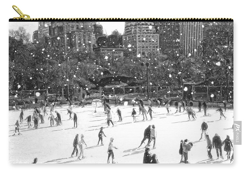 New York Central Park Carry-all Pouch featuring the digital art Holiday Skaters by Russ Considine
