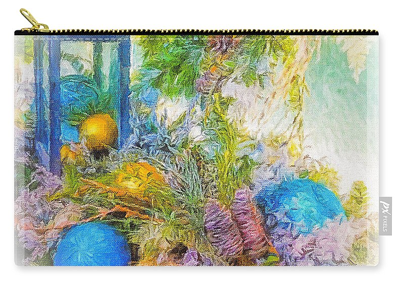 Blue Carry-all Pouch featuring the photograph Holiday Vignette 2 by Diane Lindon Coy