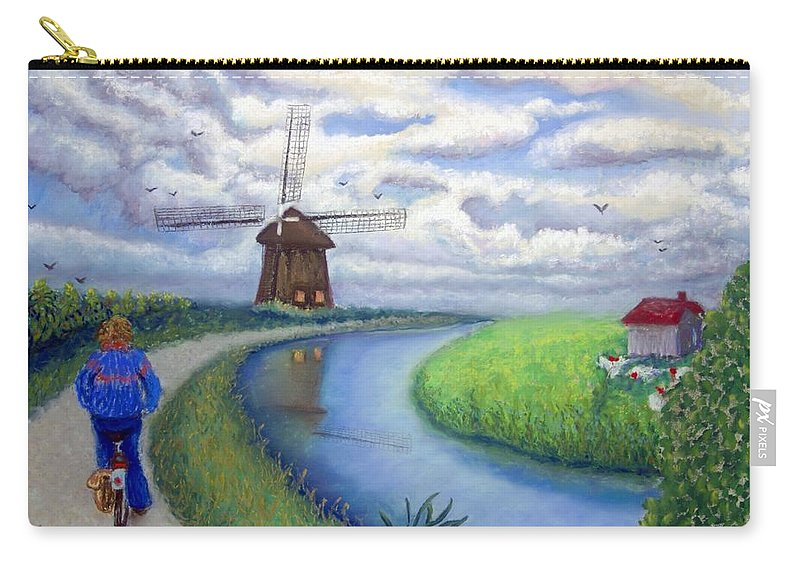 Biking Carry-all Pouch featuring the painting Holland Windmill Bike Path by Minaz Jantz